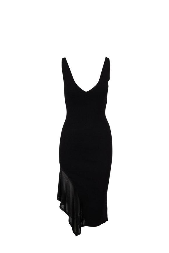 Cushnie Black Knit Asymmetric Panel Sleeveless Dress