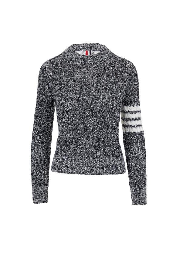 Thom Browne Navy Blue Open Stitch Crewneck Sweater
