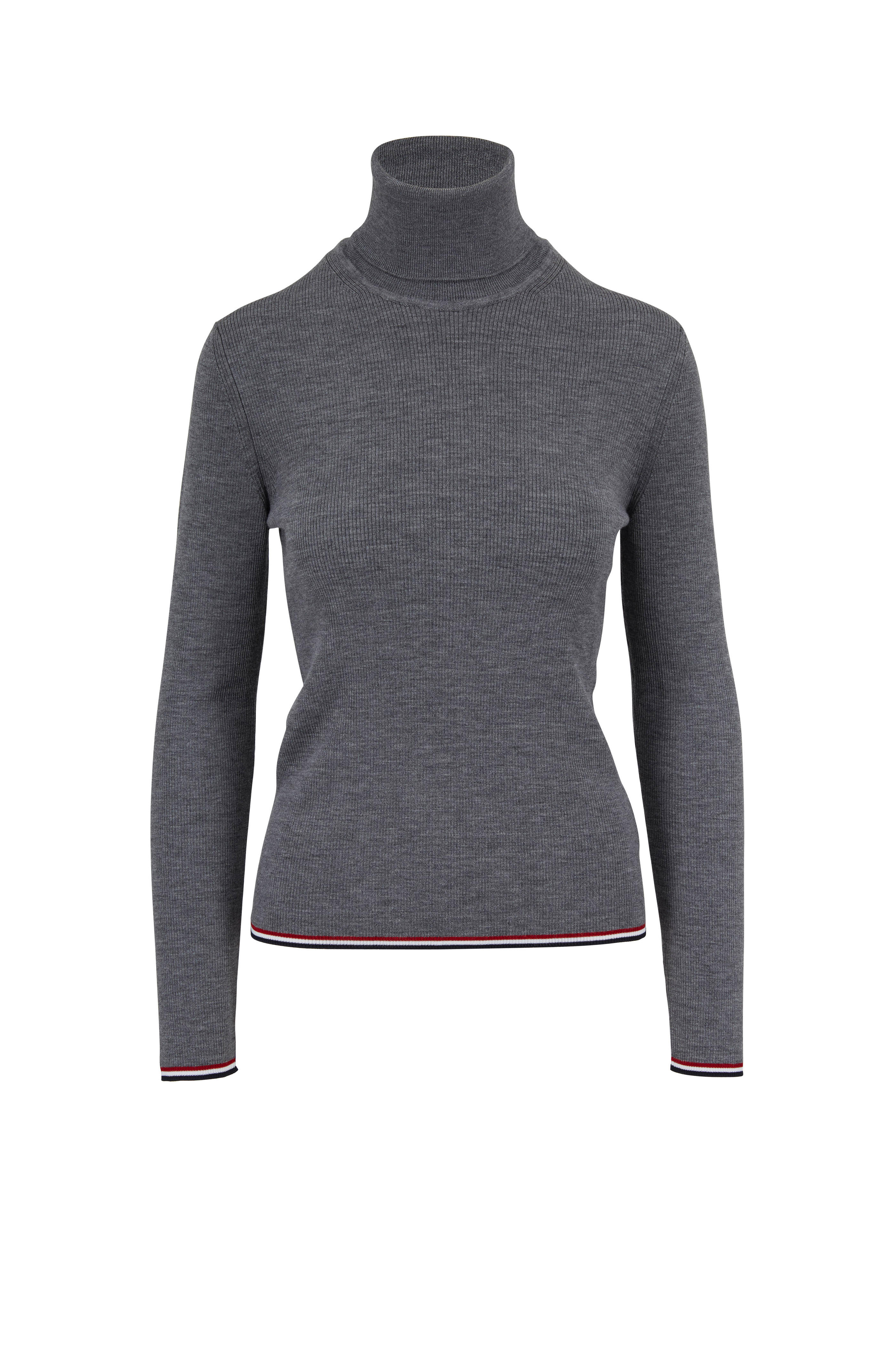 bf7c2a6f91 Thom Browne - Charcoal Gray Ribbed Wool Contrast Trim Turtleneck ...