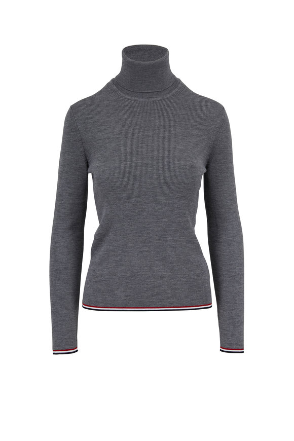 Thom Browne Charcoal Gray Ribbed Wool Contrast Trim Turtleneck