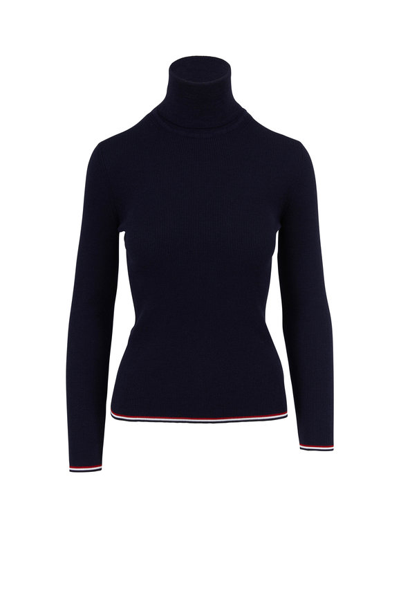 Thom Browne Navy Blue Ribbed Wool Contrast Stitch Turtleneck