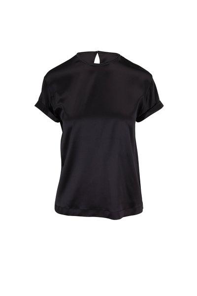 Brunello Cucinelli - Black Satin Monili Trim Short Sleeve T-Shirt