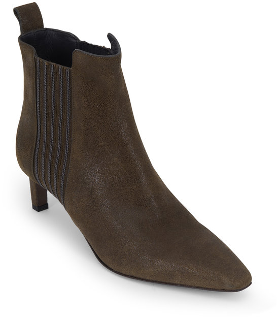 Brunello Cucinelli Military Leather Monili Side Ankle Bootie, 55mm