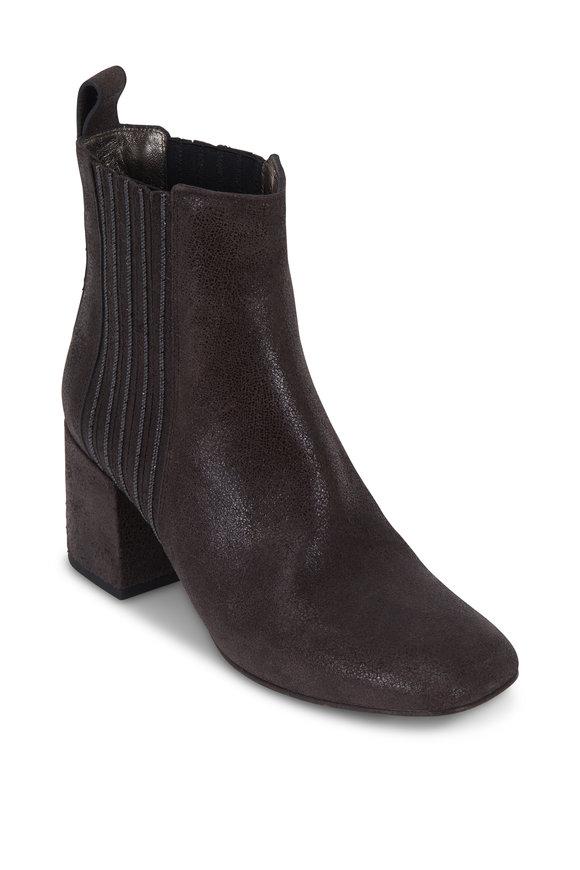 Brunello Cucinelli Graphite Buff Leather City Heel Bootie, 60mm