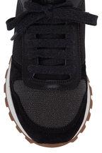 Brunello Cucinelli - Black Leather & Mesh Monili Sock Sneaker