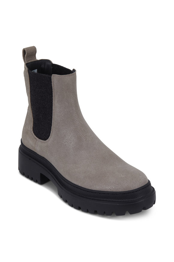 Brunello Cucinelli Gray Buff Leather Ankle Boot