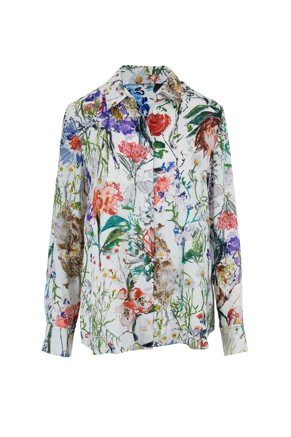 Lela Rose Ivory Multi Floral Blouse