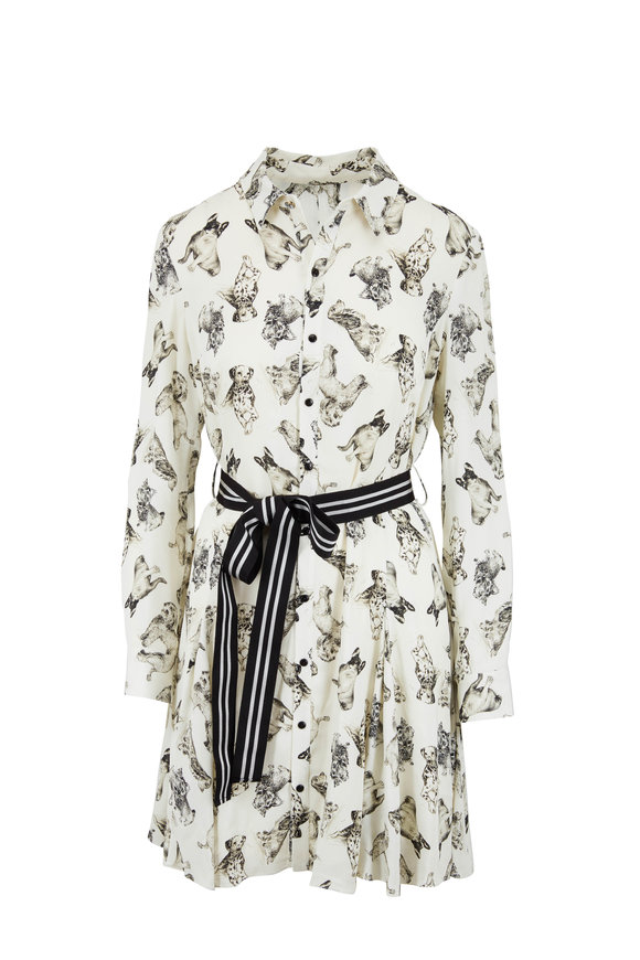 Lela Rose Pussy Bow Black & White Dog Print Shirtdress