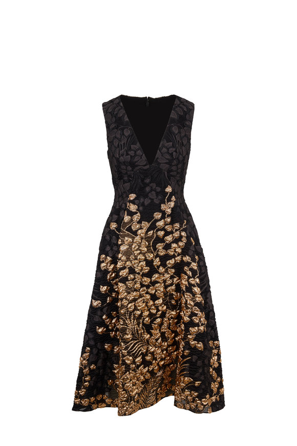 Lela Rose Black & Gold Metallic Deep-V Sleeveless Dress