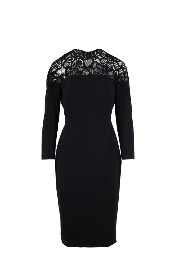 Lela Rose Black Lace Yoke Long Sleeve Sheath Dress