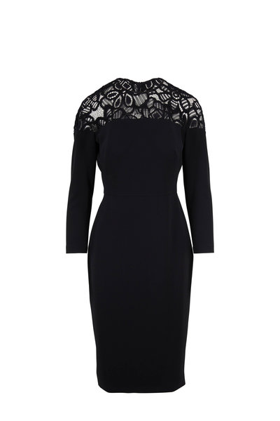 Lela Rose - Black Lace Yoke Long Sleeve Sheath Dress