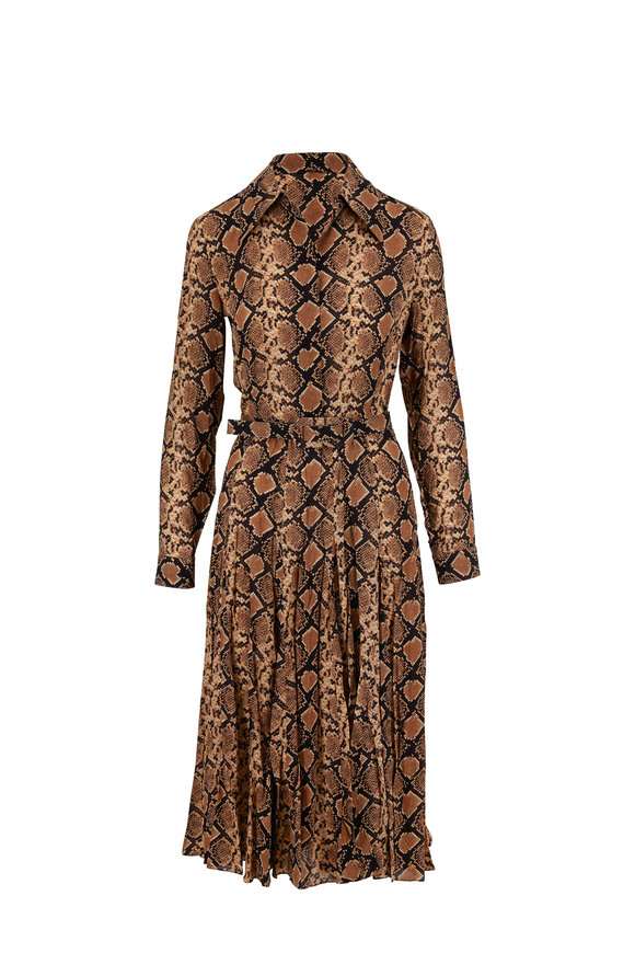 Michael Kors Collection Suntan Python Crushed Silk-Georgette Shirtdress