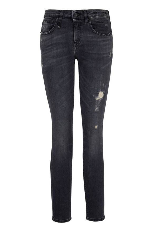 R13 Alison Skinny Washed Black Jean