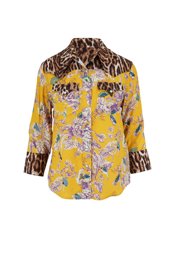 R13 Mustard Floral Exaggerated Collar Western Shirt