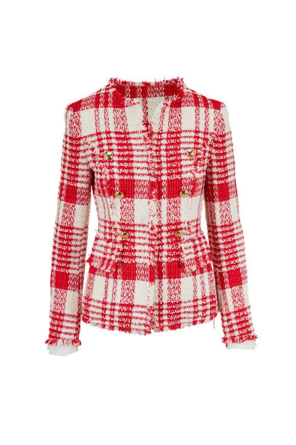 Escada Betlu Red & Off White Plaid Fringed Trim Jacket