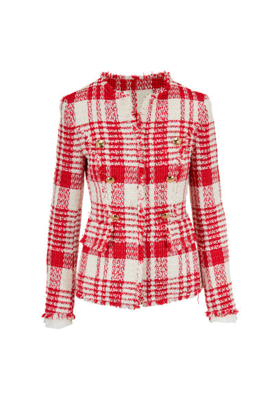 Escada - Betlu Red & Off White Plaid Fringed Trim Jacket