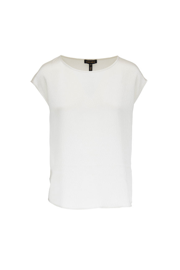 Escada Nerodari Off-White Hammered Silk Cap Sleeve Top