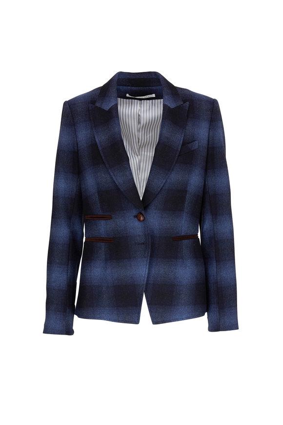 Veronica Beard Hudson Blue Plaid Dickey Jacket