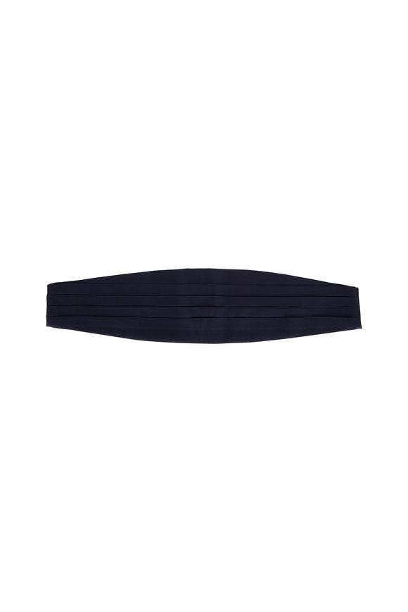 Dolce Punta Navy Blue Grosgrain Silk Cummerbund
