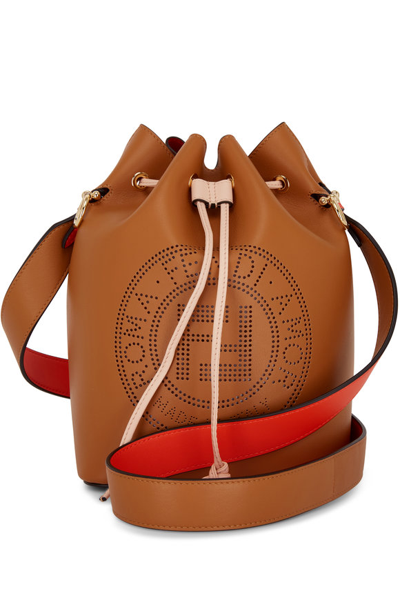 Fendi Mon Tresor Brown Logo Embossed Grande Bucket Bag
