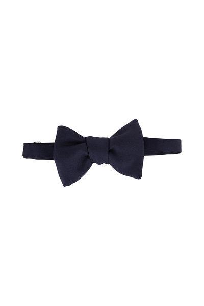 Dolce Punta - Navy Blue Grosgrain Large Pre-Tied Bow Tie