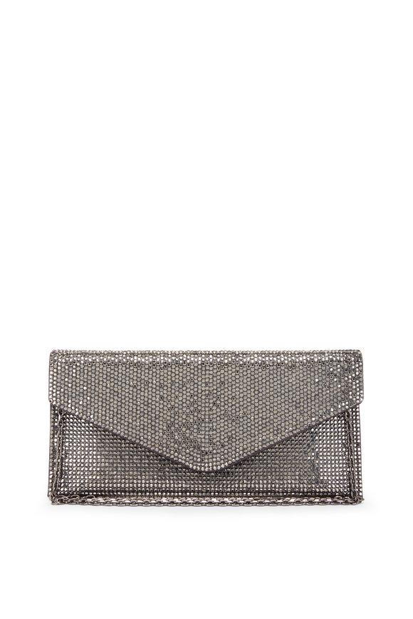Judith Leiber Couture Dark Silver Hematite Envelope Clutch