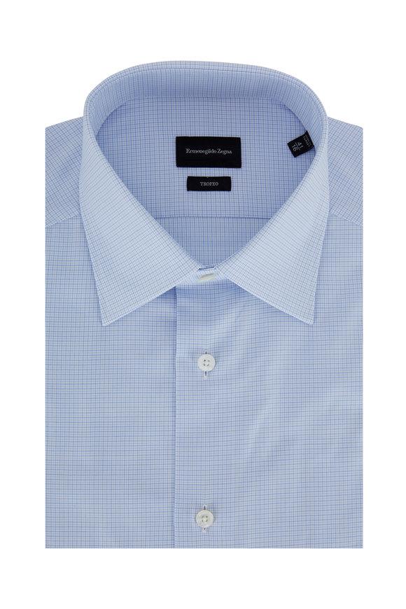 Ermenegildo Zegna Trofeo Light Blue Micro Check Dress Shirt