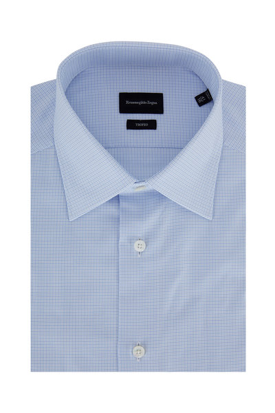 Ermenegildo Zegna - Trofeo Light Blue Micro Check Dress Shirt