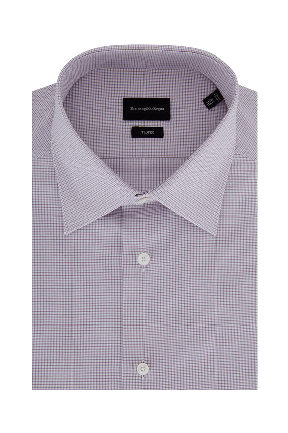 Ermenegildo Zegna Trofeo Wine Plaid Dress Shirt