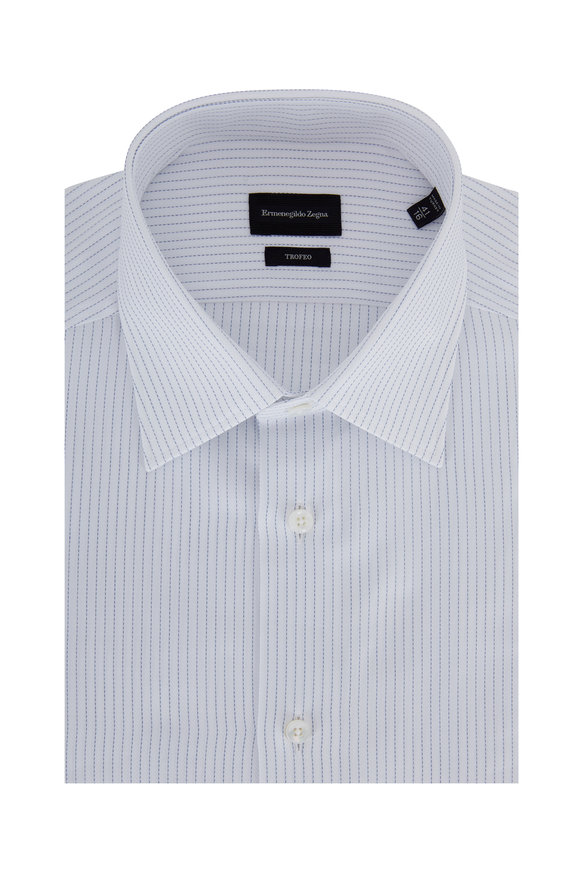 Ermenegildo Zegna Trofeo Blue Striped Dress Shirt