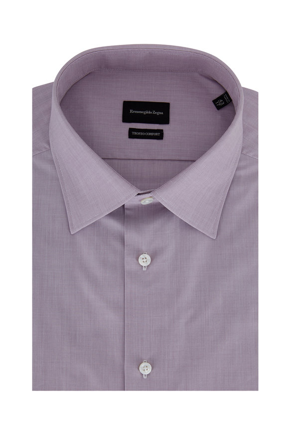 Ermenegildo Zegna Trofeo Comfort Wine Dress Shirt