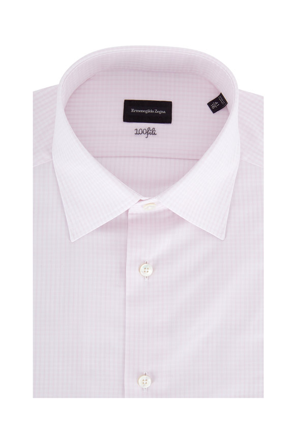 Ermenegildo Zegna Light Pink Plaid Dress Shirt