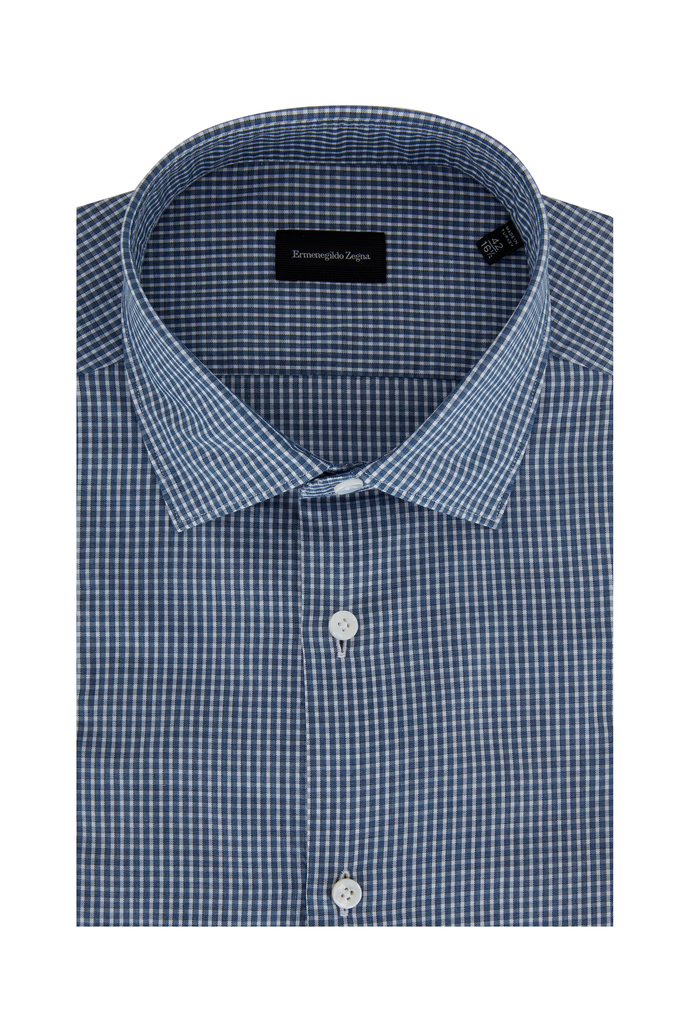 8f1d413a Ermenegildo Zegna - Teal Blue Check Dress Shirt | Mitchell Stores