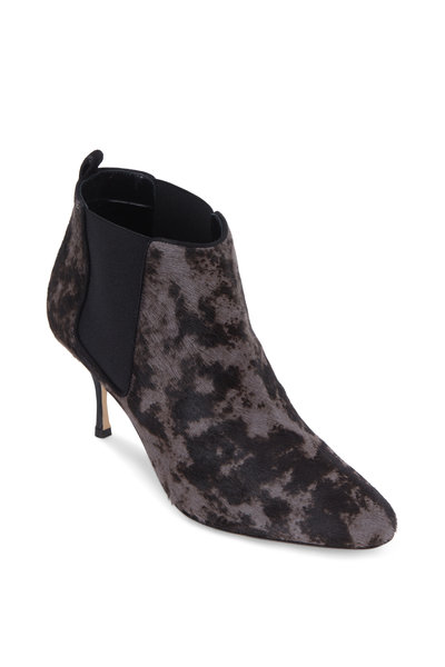 Manolo Blahnik - Dilsa Gray & Brown Calf Hair Printed Bootie, 70mm