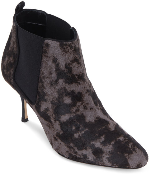 Manolo Blahnik Dilsa Gray & Brown Calf Hair Printed Bootie, 70mm