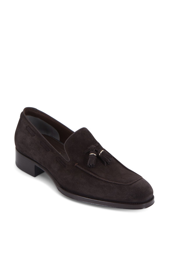 Tom Ford Edgar Dark Brown Suede Tassel Loafer