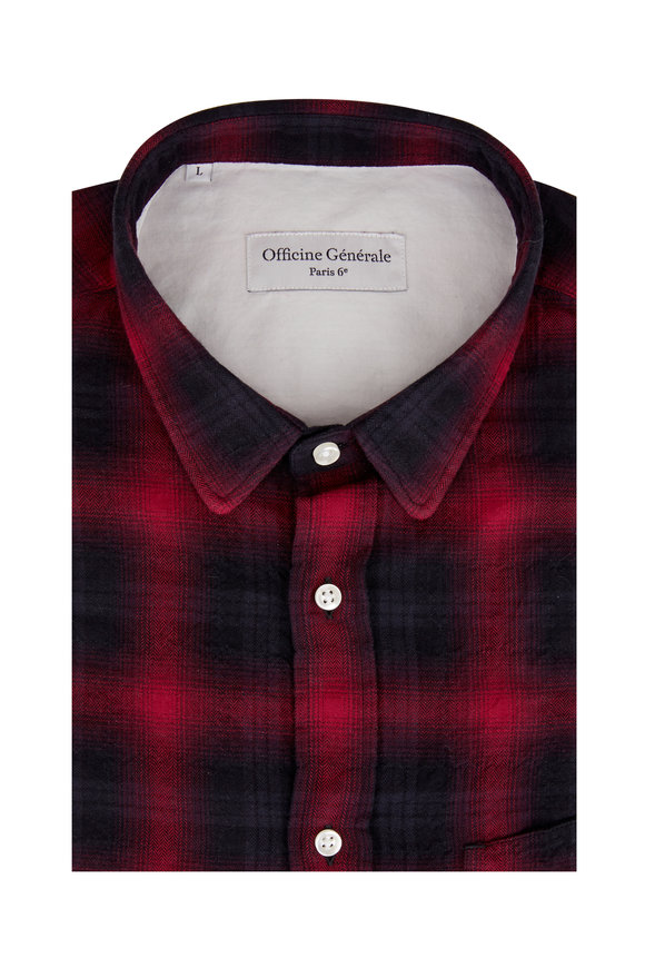 Officine Generale Lipp Black & Red Shadow Plaid Sport Shirt
