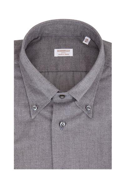 Borriello - Gray Brushed Twill Dress Shirt