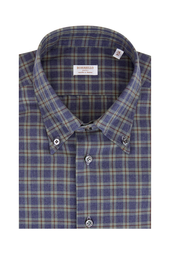 Borriello Blue & Green Plaid Dress Shirt