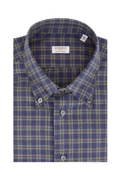 Borriello - Blue & Green Plaid Dress Shirt