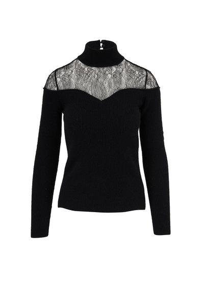 Fendi - Black Wool & Cashmere Lace Mockneck Sweater