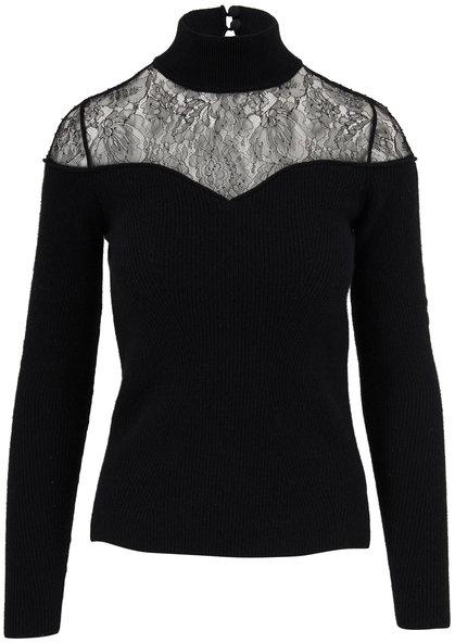 Fendi Black Wool & Cashmere Lace Mockneck Sweater