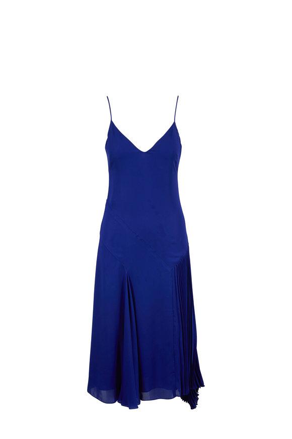 Cushnie Indigo Silk Asymmetric Pleated Dress