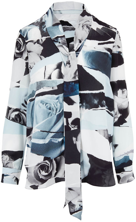 Alexander McQueen Blue & Gray Torn Rose Print Silk Tie-Neck Blouse