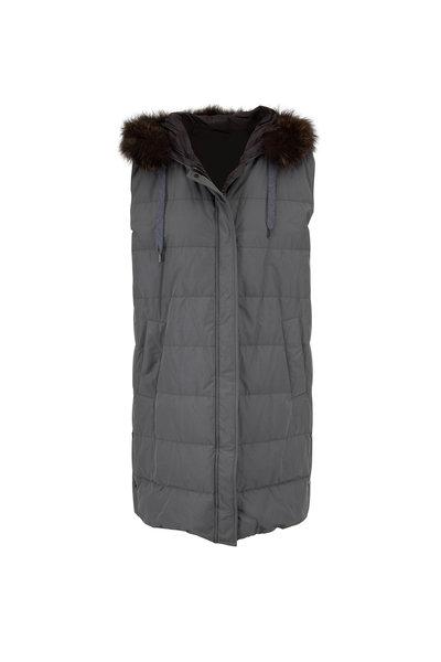 Brunello Cucinelli - Olive Taffeta Fur Trim Hooded Down Vest