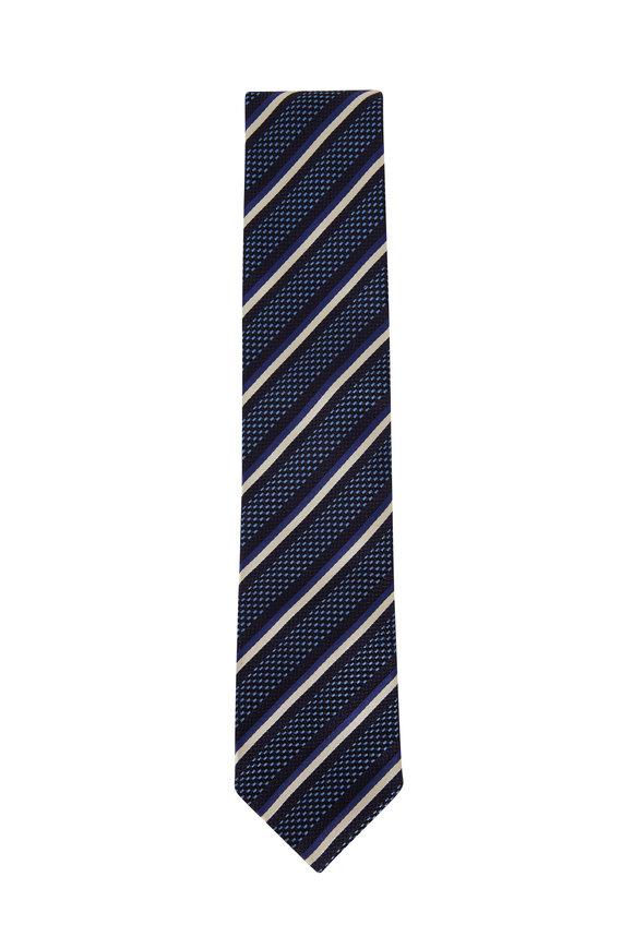 Ermenegildo Zegna Navy Blue Striped Silk Necktie