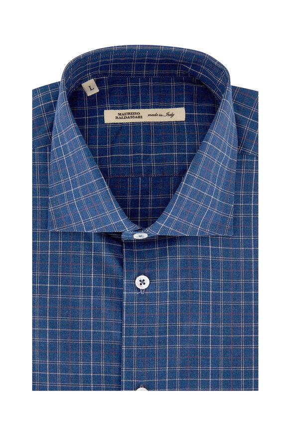 Maurizio Baldassari Royal Blue & Rust Windowpane Sport Shirt