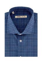 Maurizio Baldassari - Royal Blue & Rust Windowpane Sport Shirt