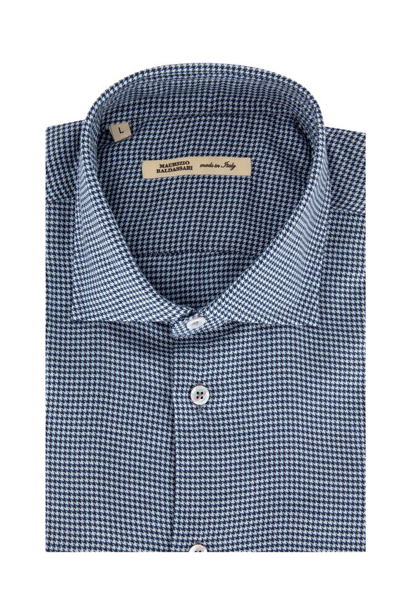 Maurizio Baldassari Navy Blue Houndstooth Sport Shirt