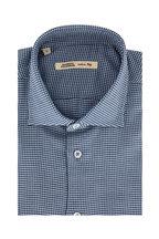 Maurizio Baldassari - Navy Blue Houndstooth Sport Shirt